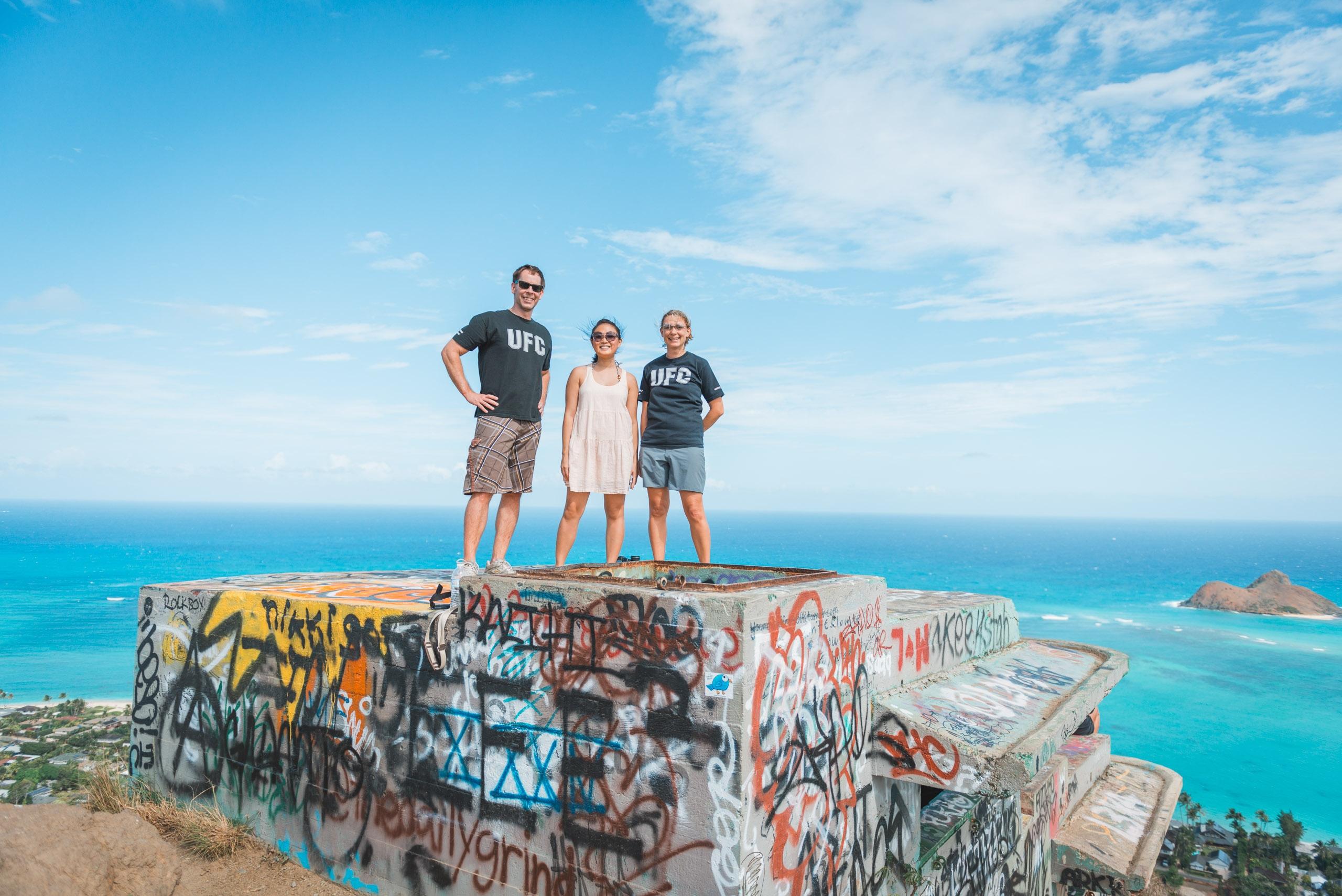 John Jessica and Carey atop the Lanikai Pillboxes