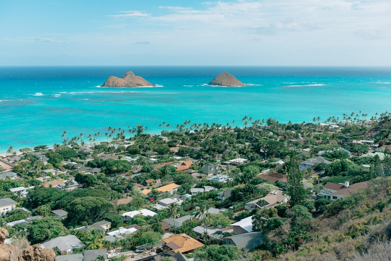 Overlooking Na Mokulua and Lanikai Beach from the Pillbox Trail