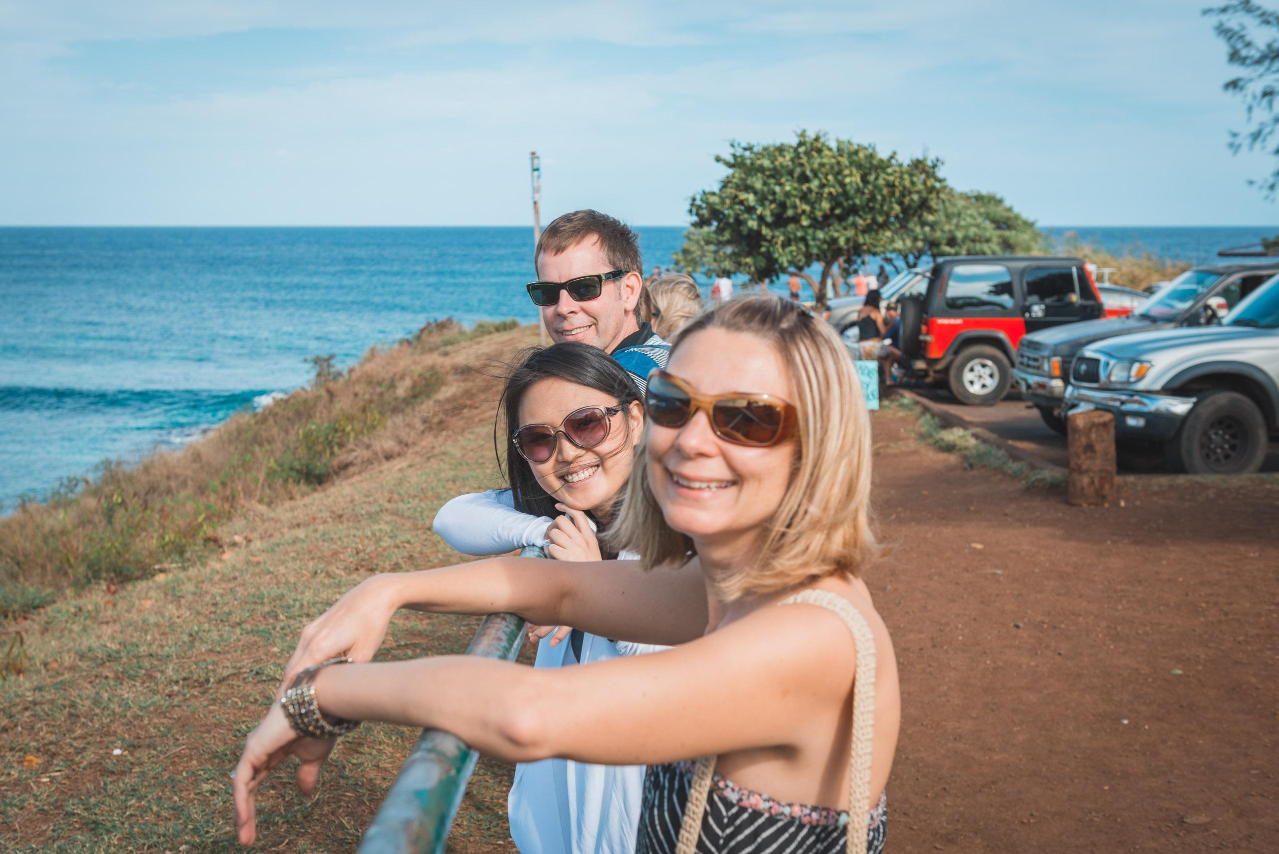 John Jessica & Carey Overlooking Ho Okipa Beach