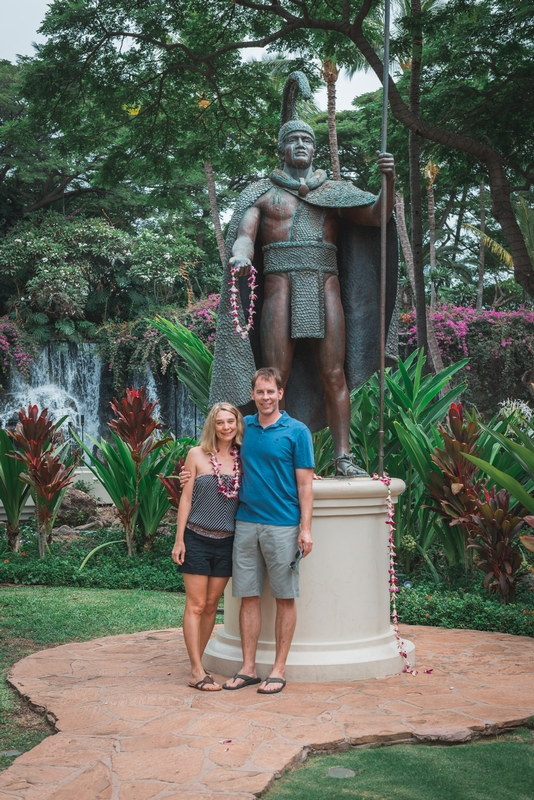 Carey and John with King Kamehameha
