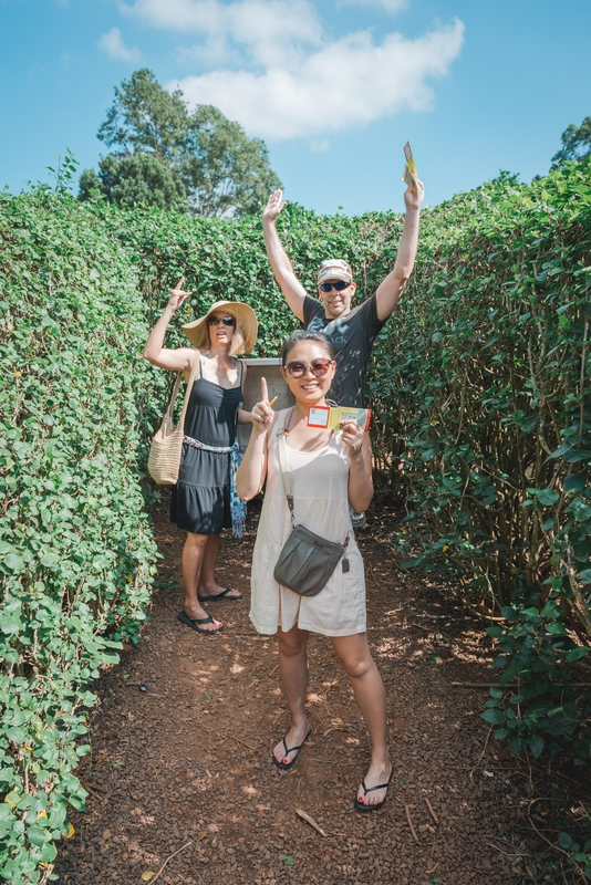 Carey John and Jessica in the Pineapple Maze