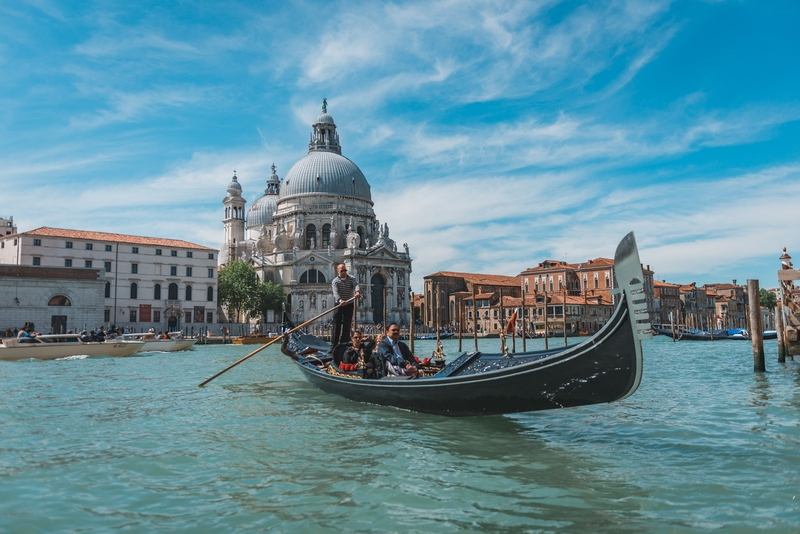 A Gondola on the Grand Canal and the Santa Maria Della Salute Ch