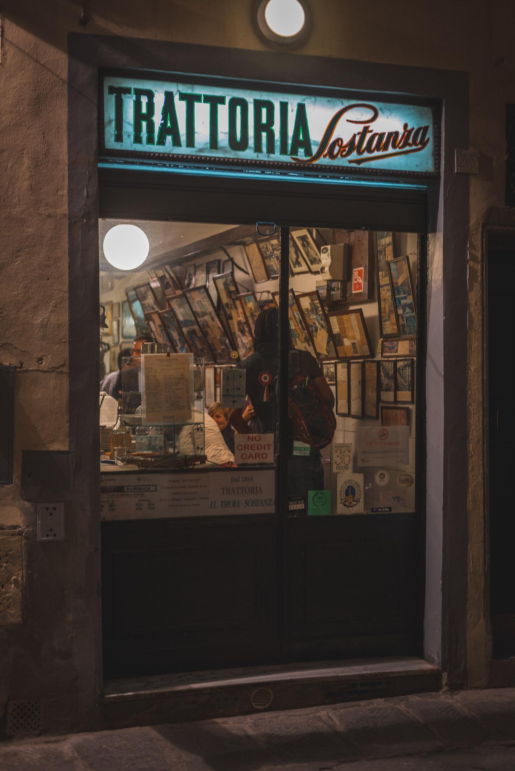 Outside Trattoria Sostanza