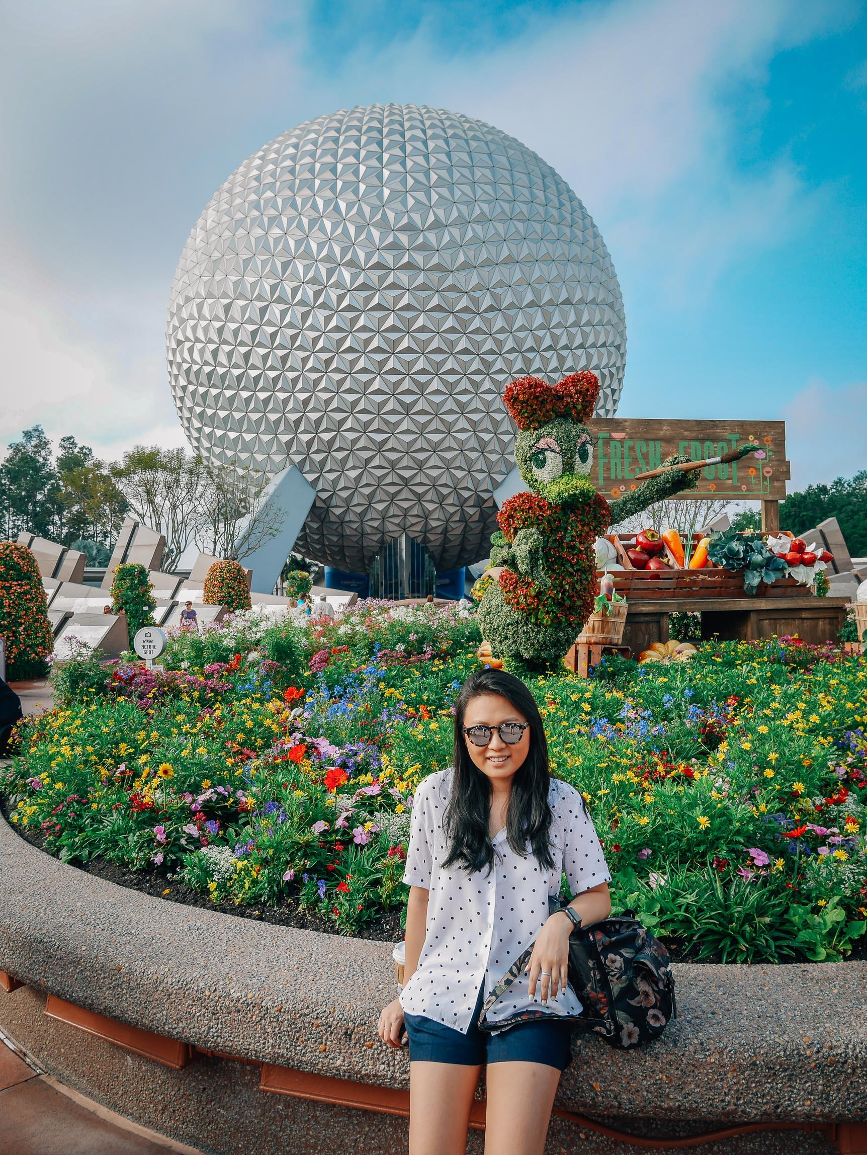 Jessica at the Entrace to EPCOT