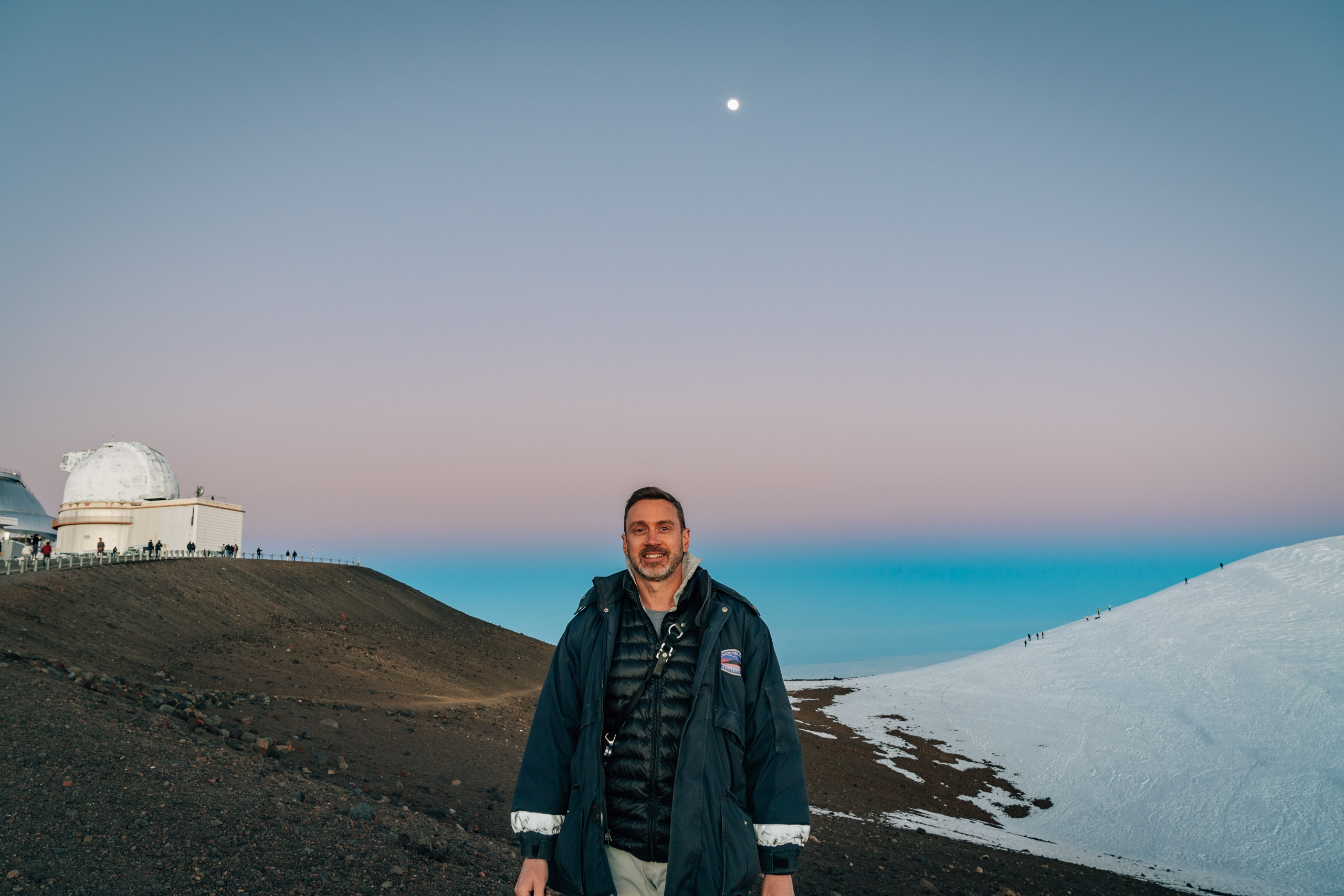 Moonrise at Sunset over Mauna Kea