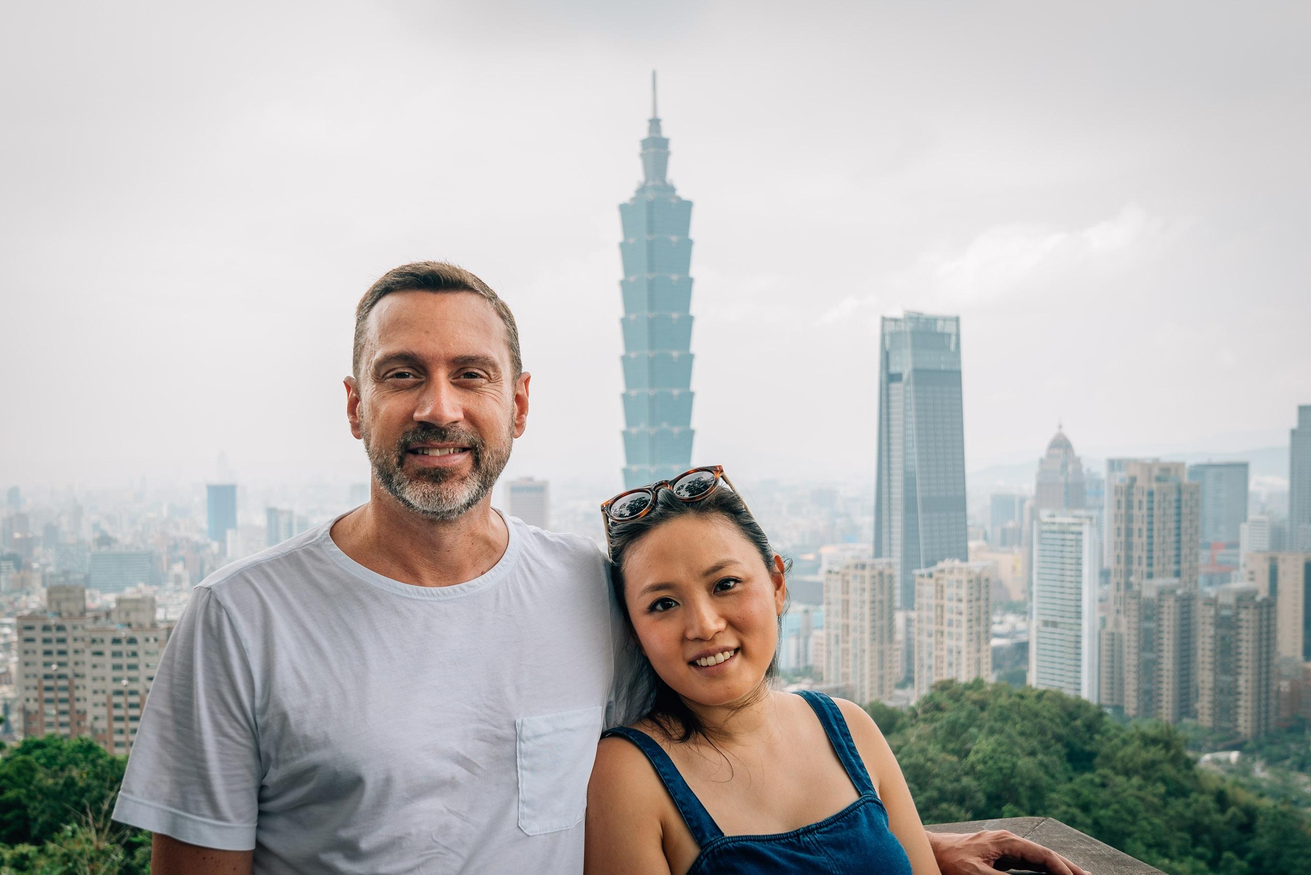 Kris and Jessica overlooking Taipei 101