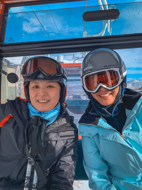 Jessica and Jen on the Lift