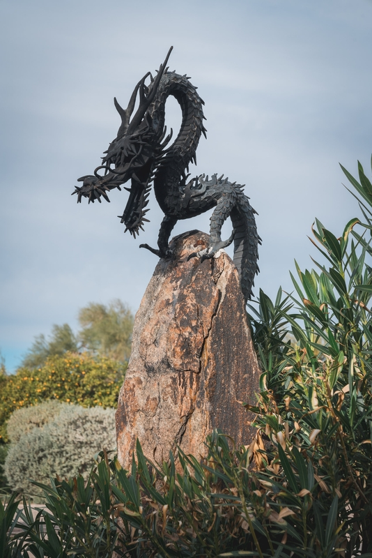 Sculpture of a Fire Breathing Dragon