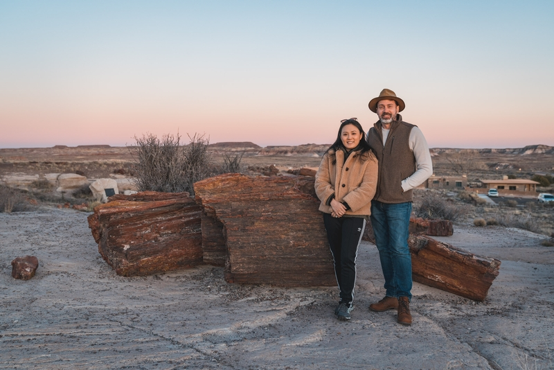 Jessica and Kris at Sunset in the Petrified National Forest